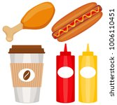 colorful fast food icon set... | Shutterstock .eps vector #1006110451