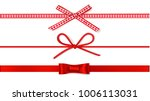 set of decorative red bows with ... | Shutterstock .eps vector #1006113031