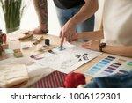 fashion designers team choosing ...   Shutterstock . vector #1006122301