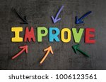 Small photo of Self improvement concept by multiple arrow pointing to colorful alphabet IMPROVE at the center on dark black cement wall background.