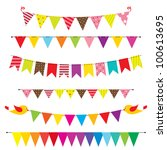 bunting and garland set. raster ... | Shutterstock . vector #100613695