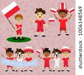 Set of boys with national flags of Poland. Blanks for the day of the flag, independence, nation day and other public holidays. The guys in sports form with the attributes of the football team