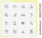 camping line icon set bonfire ... | Shutterstock .eps vector #1006155301