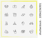 camping line icon set squirrel  ... | Shutterstock .eps vector #1006156501