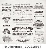 Stock vector retro elements for calligraphic designs vintage ornaments premium quality labels guaranteed 100615987