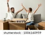 excited man and woman glad to...   Shutterstock . vector #1006160959