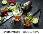refreshing mojito cocktail with ... | Shutterstock . vector #1006174897