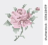 rose flower embroidery  pattern.... | Shutterstock .eps vector #100618459