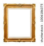 Small photo of Golden painting frame isolated