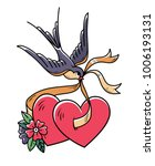 tattoo heart with flowers and... | Shutterstock .eps vector #1006193131