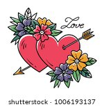 tattoo heart with gold arrow.... | Shutterstock .eps vector #1006193137
