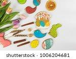 tulips and gingerbread cookies... | Shutterstock . vector #1006204681