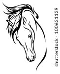 horse head with flying mane... | Shutterstock .eps vector #100621129