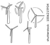 vector set of wind turbine | Shutterstock .eps vector #1006215934