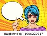 pop art woman wow blue hair... | Shutterstock .eps vector #1006220317
