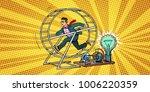 businessman in a squirrel wheel.... | Shutterstock .eps vector #1006220359
