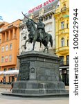 Small photo of ZAGREB, CROATIA-MAR. 23, 2015: The Ban Jelacic monument stands in the square bearing his name and was created by Anton Fernkorn in 1866. He led the movement to abolish serfdom in Croatia.