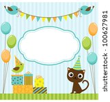 vector birthday party card with ... | Shutterstock .eps vector #100627981