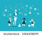 robots are future babysitters... | Shutterstock .eps vector #1006358095