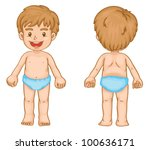 illustration of young boy front ... | Shutterstock . vector #100636171