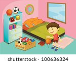 illustration of a boy in his... | Shutterstock . vector #100636324