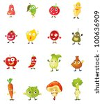 mixed fruit faces illustrations ... | Shutterstock . vector #100636909