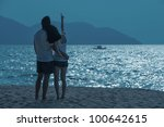 romantic asian couple on the... | Shutterstock . vector #100642615