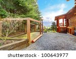 Log Cabin With Dogs Fenced...