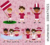 set of boys with national flags ... | Shutterstock .eps vector #1006474321