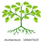 A green stylised tree design element symbolising growth, nature or the environment - stock vector