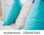 colourful pillows on white... | Shutterstock . vector #1006507681