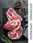 fresh steaks from raw pork meat ... | Shutterstock . vector #1006562125