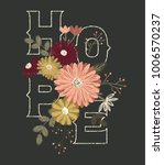 hope flowers embroidery vector | Shutterstock .eps vector #1006570237