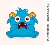 cute cartoon monster. surprised ... | Shutterstock .eps vector #1006582759