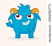 cute cartoon monster. proud... | Shutterstock .eps vector #1006582771