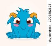 cute cartoon monster. happy... | Shutterstock .eps vector #1006582825