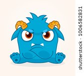 cute cartoon monster. grumpy... | Shutterstock .eps vector #1006582831
