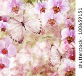 butterflies and orchids flowers ... | Shutterstock . vector #100659151