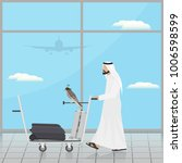 arab with a falcon on a trolley ... | Shutterstock .eps vector #1006598599