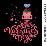 happy valentines day hand drawn ... | Shutterstock .eps vector #1006598695