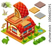 3d isometric cottage with...