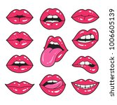 Lips Patch Collection. Vector...