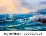 morning on sea  wave ... | Shutterstock . vector #1006614325
