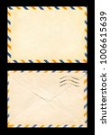 Small photo of vintage postage envelope on a black background, message, air mail