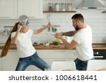 funny couple pretending fight... | Shutterstock . vector #1006618441