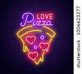 pizza love. 3d neon sign.... | Shutterstock .eps vector #1006623277