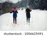 two young beautiful girls go... | Shutterstock . vector #1006625491