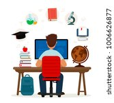 student sitting at desk in... | Shutterstock .eps vector #1006626877