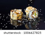 japanese sushi with toppings on ... | Shutterstock . vector #1006627825