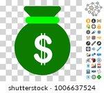 dollar bag icon with bonus...